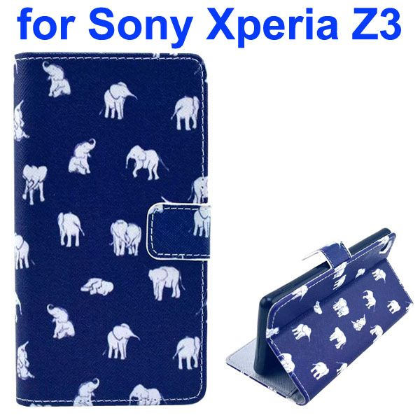3D Color Printing Craft Cross Texture Wallet Flip Leather Case for Sony Xperia Z3 (Elephant)