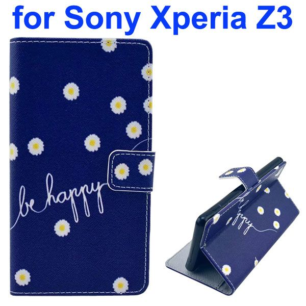 3D Color Printing Craft Cross Texture Wallet Flip Leather Case for Sony Xperia Z3 (Be Happy)