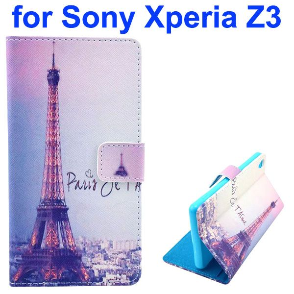 3D Color Printing Craft Cross Texture Wallet Flip Leather Case for Sony Xperia Z3 (Eiffel Tower)