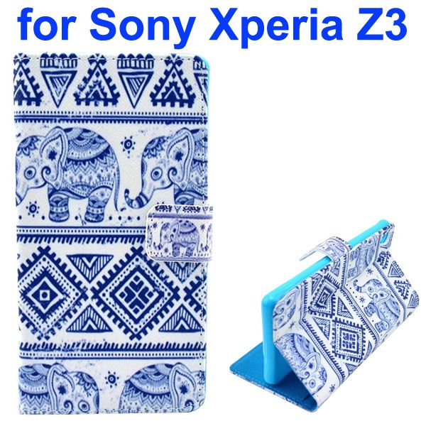 3D Color Printing Craft Cross Texture Wallet Flip Leather Case for Sony Xperia Z3 (The Tribal Style)