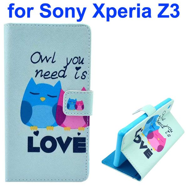 3D Color Printing Craft Cross Texture Wallet Flip Leather Case for Sony Xperia Z3 (Loving Owls)