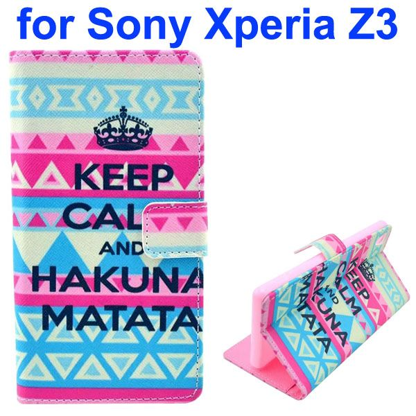 3D Color Printing Craft Cross Texture Wallet Flip Leather Case for Sony Xperia Z3 (Hakuna Matata)