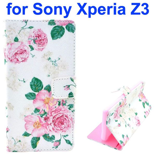 3D Color Printing Craft Cross Texture Wallet Flip Leather Case for Sony Xperia Z3 (The Jasmine)