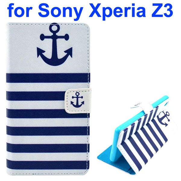 3D Color Printing Craft Cross Texture Wallet Flip Leather Case for Sony Xperia Z3 (The Anchor)