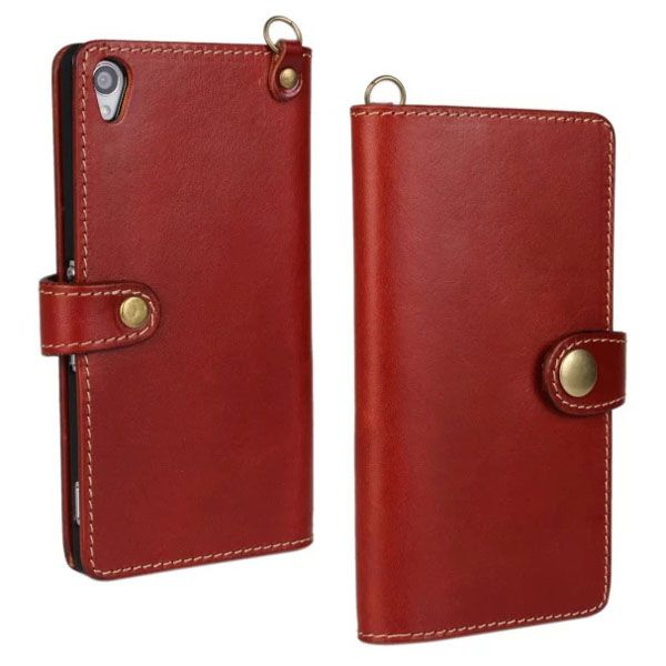 Luxury Wallet Stand Style First Genuine Leather Flip Cover for Sony Xperia Z3 (Dark Red)