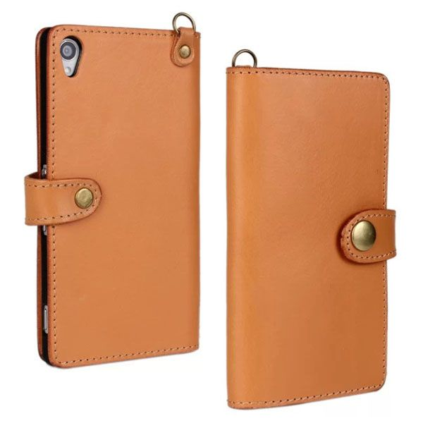 Luxury Wallet Stand Style First Genuine Leather Flip Cover for Sony Xperia Z3 (Orange)