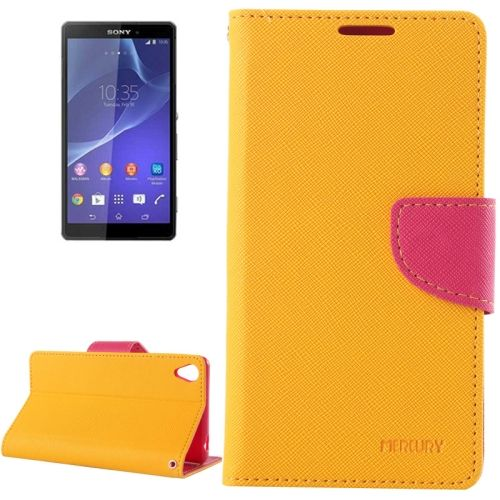 Mercury Cross Texture Mix Color Wallet Leather Cover for Sony Xperia Z3 (Orange+Hotpink)