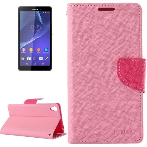 Mercury Cross Texture Mix Color Waller Leather Cover for Sony Xperia Z3 (Pink+Rose)