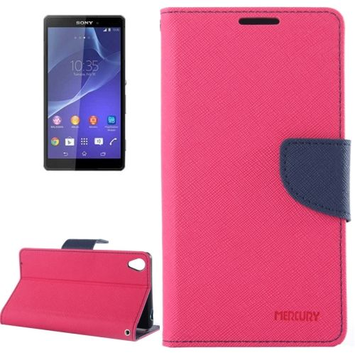 Mercury Cross Texture Mix Color Wallet Leather Cover for Sony Xperia Z3 (Rose+Dark Blue)