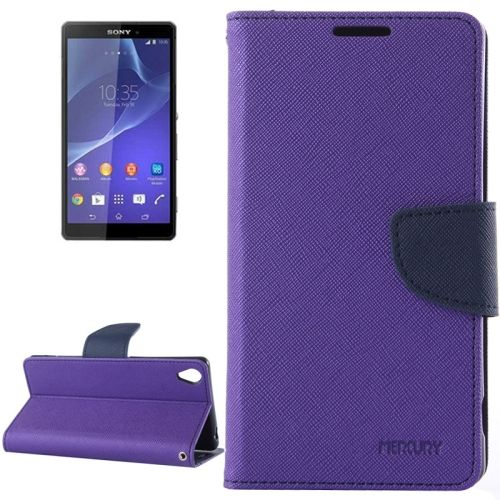 Mercury Cross Texture Mix Color Wallet Leather Cover for Sony Xperia Z3 (Purple+Dark Blue)