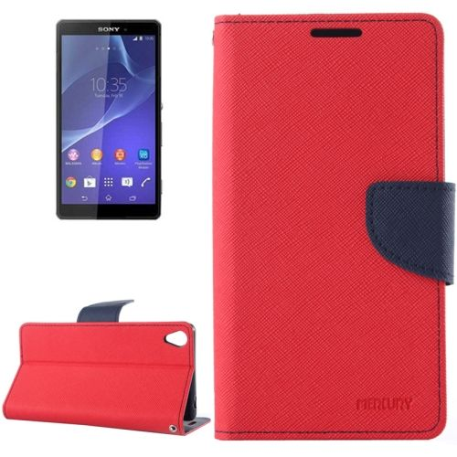 Mercury Cross Texture Mix Color Wallet Leather Cover for Sony Xperia Z3 (Red+Dark Blue)