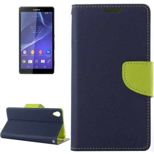 Mercury Cross Texture Mix Color Wallet Leather Cover for Sony Xperia Z3 (Dark Blue+Green)