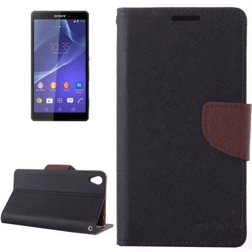 Mercury Cross Texture Mix Color Wallet Leather Cover for Sony Xperia Z3 (Black+Brown)