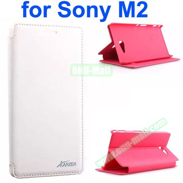 Karzea Retro Simple Style Flip Leather Case for Sony Xperia M2 (White)