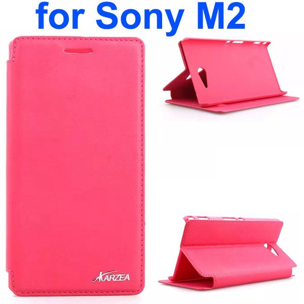 Karzea Retro Simple Style Flip Leather Case for Sony Xperia M2 (Red)