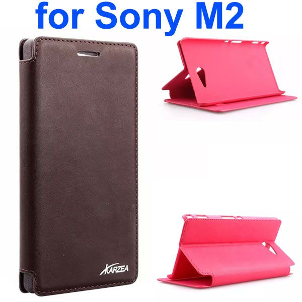 Karzea Retro Simple Style Flip Leather Case for Sony Xperia M2 (Brown)