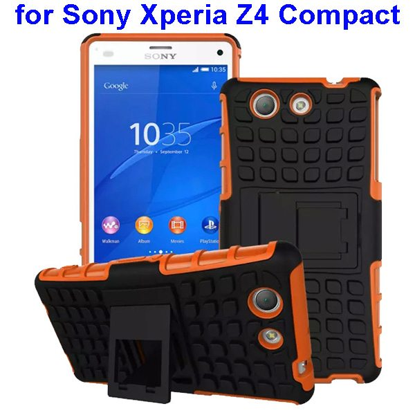 2 in 1 Pattern TPU and PC Shockproof Hybrid Case for Sony Xperia Z4 Compact (Brown)