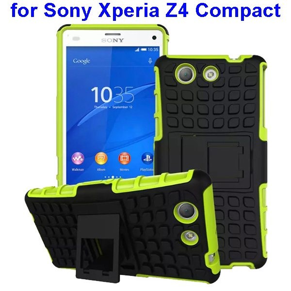 2 in 1 Pattern TPU and PC Shockproof Hybrid Case for Sony Xperia Z4 Compact (Green)