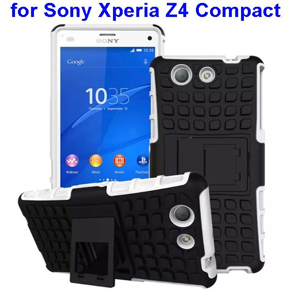 2 in 1 Pattern TPU and PC Shockproof Hybrid Case for Sony Xperia Z4 Compact (White)