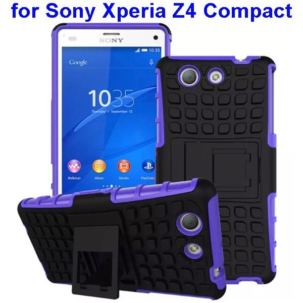 2 in 1 Pattern TPU and PC Shockproof Hybrid Case for Sony Xperia Z4 Compact (Purple)