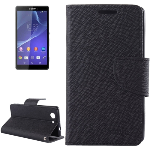 Mercury Cross Texture Mix Color Wallet Leather Case for Sony Xperia Z4 Compact (Black+Brown)
