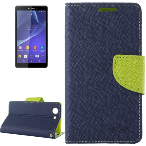 Mercury Cross Texture Mix Color Wallet Leather Case for Sony Xperia Z4 Compact (Navy/Green)