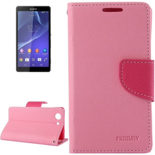 Mercury Cross Texture Mix Color Wallet Leather Case for Sony Xperia Z4 Compact (Pink/Pink)