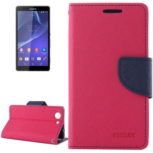 Mercury Cross Texture Mix Color Wallet Leather Case for Sony Xperia Z4 Compact (Hotpink/Navy)