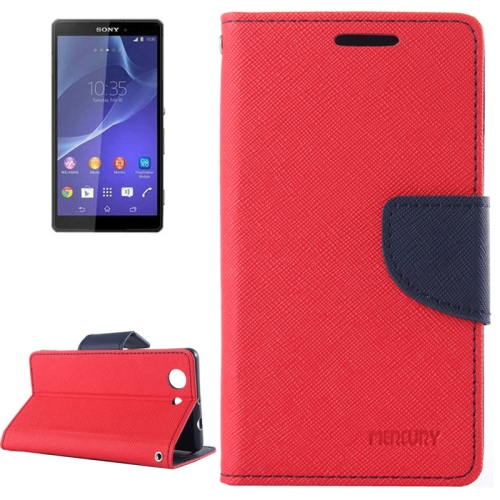 Mercury Cross Texture Mix Color Wallet Leather Case for Sony Xperia Z4 Compact (Red/Navy)