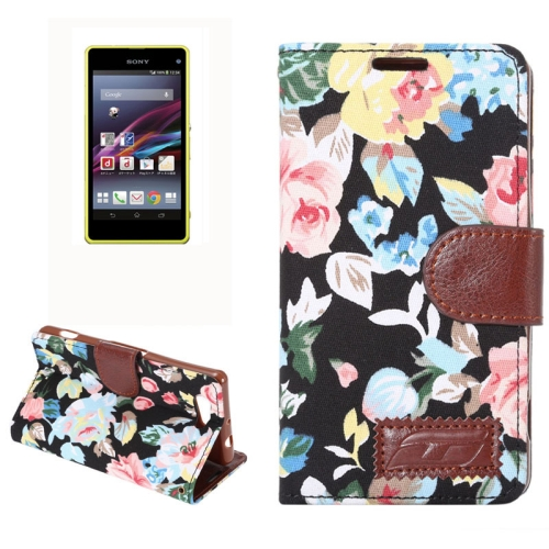 Flower Pattern Magnetic Buckle Flip Leather Wallet Case for Sony Xperia Z4 Compact (Black)