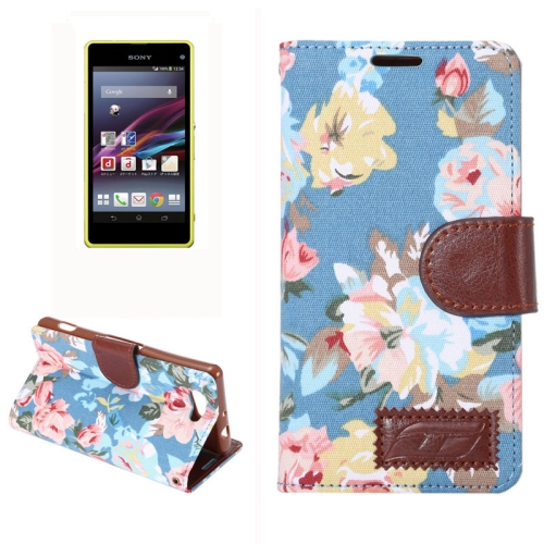 Flower Pattern Magnetic Buckle Flip Leather Wallet Case for Sony Xperia Z4 Compact (Blue)