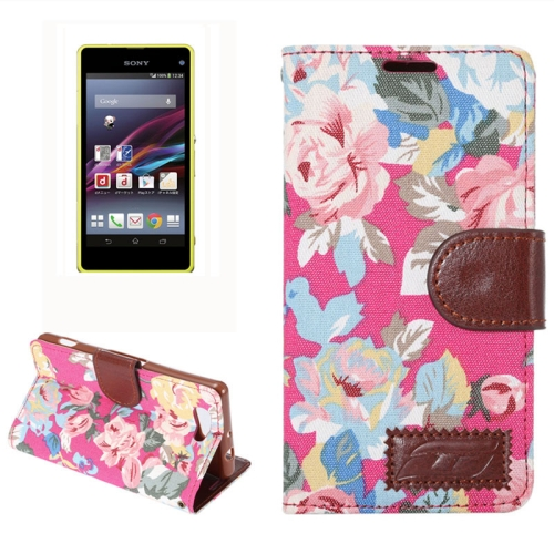 Flower Pattern Magnetic Buckle Flip Leather Wallet Case for Sony Xperia Z4 Compact (Rose)