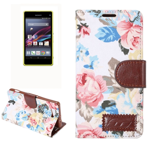 Flower Pattern Magnetic Buckle Flip Leather Wallet Case for Sony Xperia Z4 Compact (White)