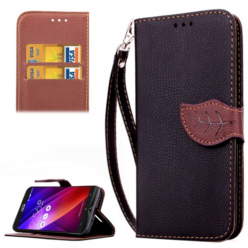Leaf Magnetic Buckle Litchi Texture Flip Leather Wallet Case for Asus ZenFone 2 with Card Slots & Stand (Black)
