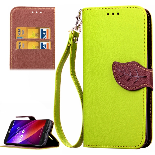 Leaf Magnetic Buckle Litchi Texture Flip Leather Wallet Case for Asus ZenFone 2 with Card Slots & Stand (Green)