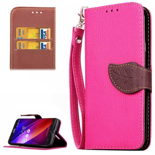 Leaf Magnetic Buckle Litchi Texture Flip Leather Wallet Case for Asus ZenFone 2 with Card Slots & Stand (Rose)