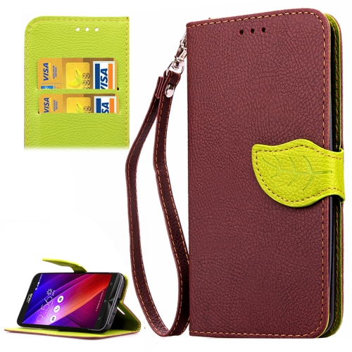 Leaf Magnetic Buckle Litchi Texture Flip Leather Wallet Case for Asus ZenFone 2 with Card Slots & Stand (Brown)