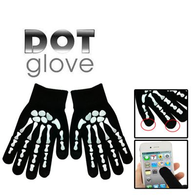 Skeleton Fingers Coating Dot Gloves of Touch Screen for iPhone 5S, iPhone 6 & iPhone 6 Plus / iPad / iPod Touch, Samsung, BlackBerry, HTC and other Touch Screen Mobile Phones (White)