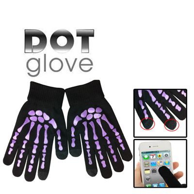 Skeleton Fingers Coating Dot Gloves of Touch Screen for iPhone 5S, iPhone 6 & iPhone 6 Plus / iPad / iPod Touch, Samsung, BlackBerry, HTC and other Touch Screen Mobile Phones (Purple)