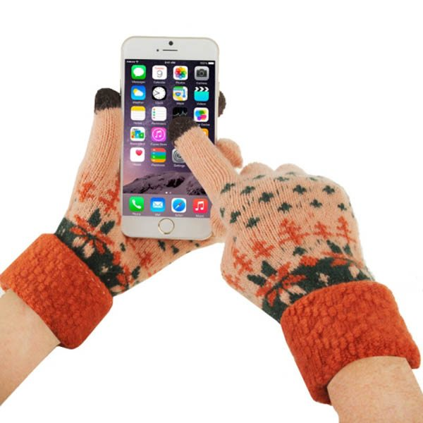 Fashionable Warm Leaves Pattern 2 Finger Capacitive Winter Touch Gloves for Women (Pink + Orange)