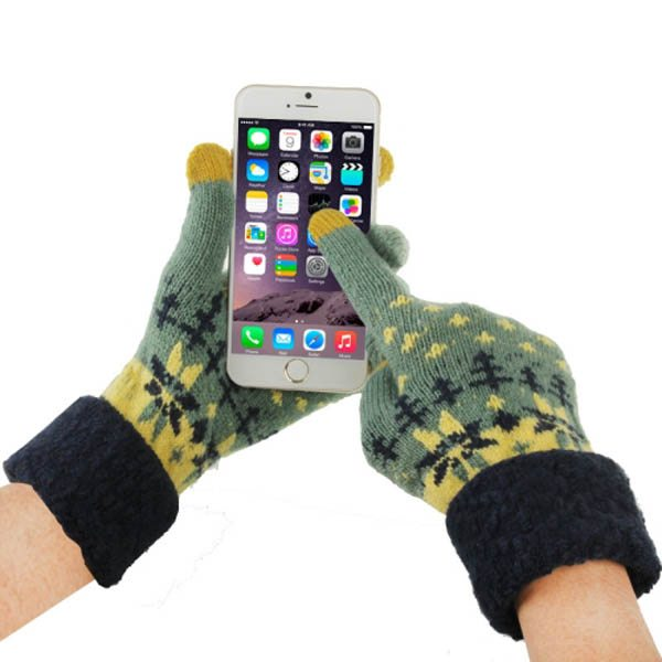 Fashionable Warm Leaves Pattern 2 Finger Capacitive Winter Touch Gloves for Women (Dark Green + Black)