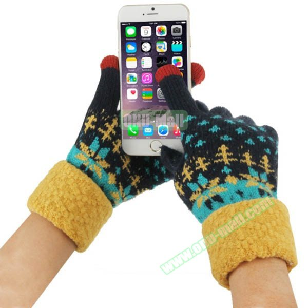 Fashionable Warm Leaves Pattern 2 Finger Capacitive Winter Touch Gloves for Women (Black + Yellow)