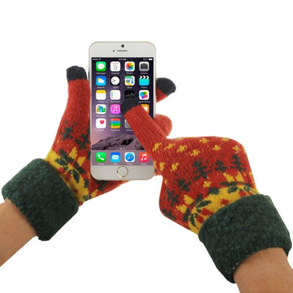 Fashionable Warm Leaves Pattern 2 Finger Capacitive Winter Touch Gloves for Women (Red+ Dark Green)