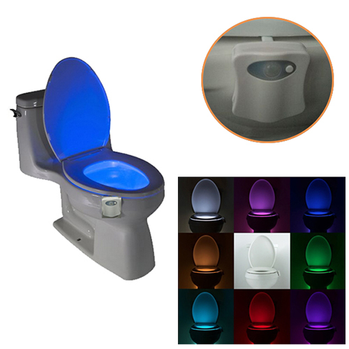 Hot Sale 8-Colors Rotated Motion Activated LED Toilet Night Light Made in China