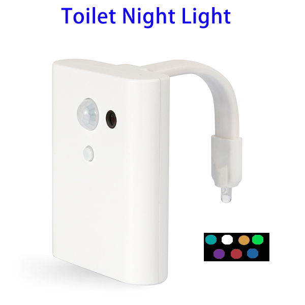New Design 7-Colors Rotated Motion Activated LED Toilet Night Light