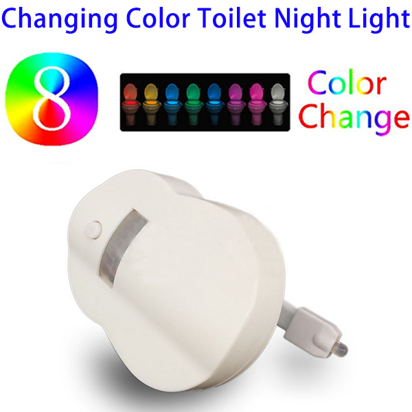 New Arrival 8 Colors Changing Motion Activated LED Toilet Bowl Nightlight