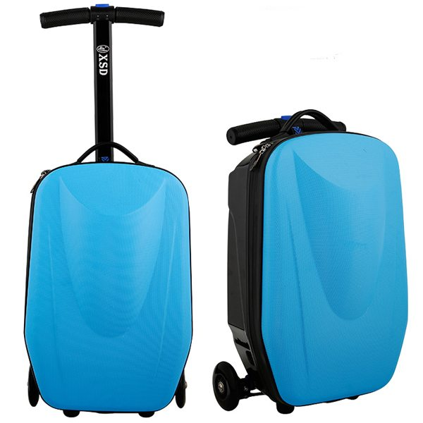 Rolling Multifunctional  Wheel Scooter Suitcase Luggage Scooter for Business Travel (Baby Blue)