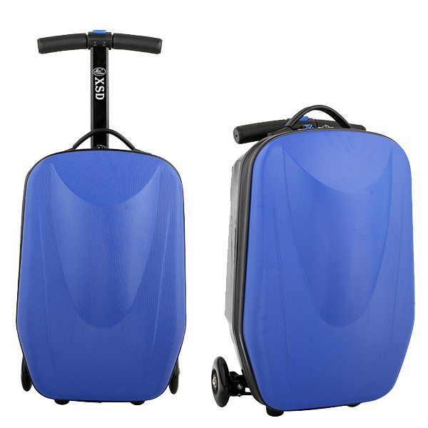 Rolling Multifunctional  Wheel Scooter Suitcase Luggage Scooter for Business Travel (Blue)