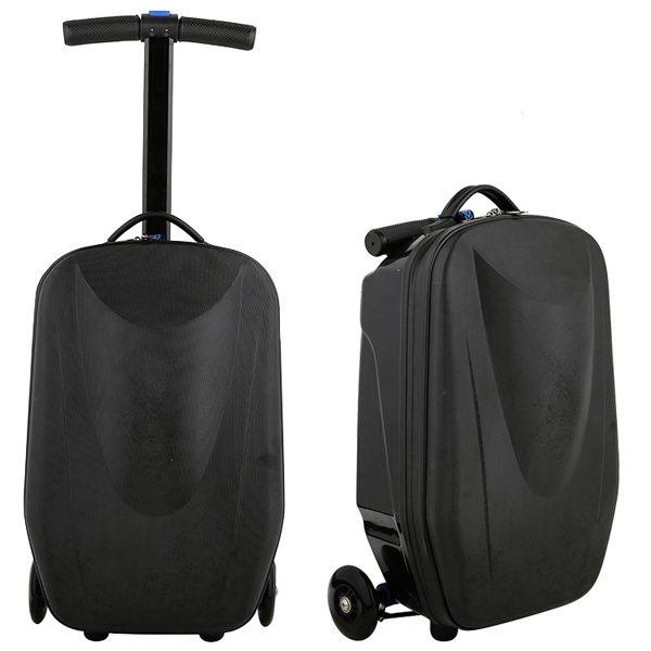 Rolling Multifunctional  Wheel Scooter Suitcase Luggage Scooter for Business Travel (Black)