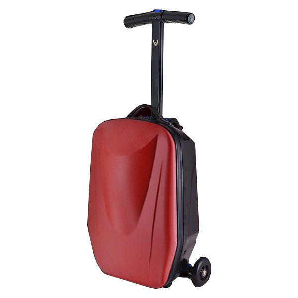 Rolling Multifunctional  Wheel Scooter Suitcase Luggage Scooter for Business Travel (Red)